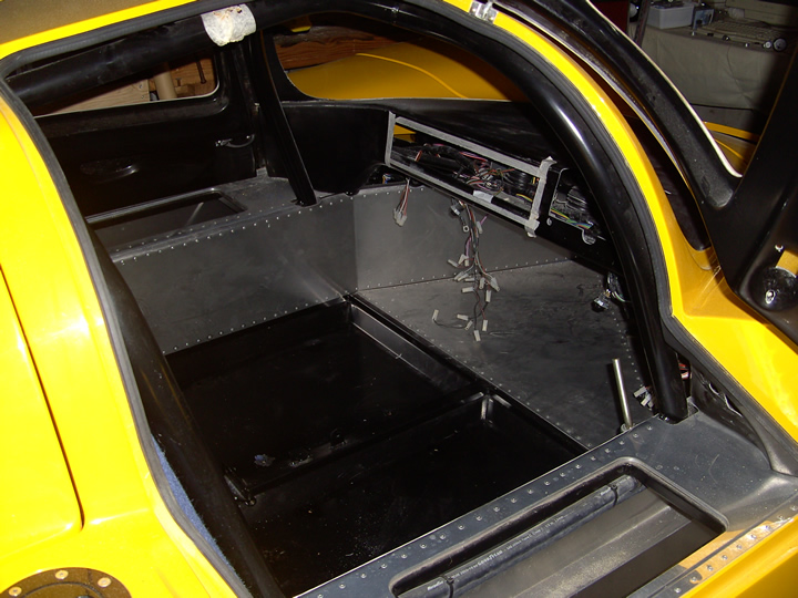 The Ultima interior before the carpets and alcantara was fitted